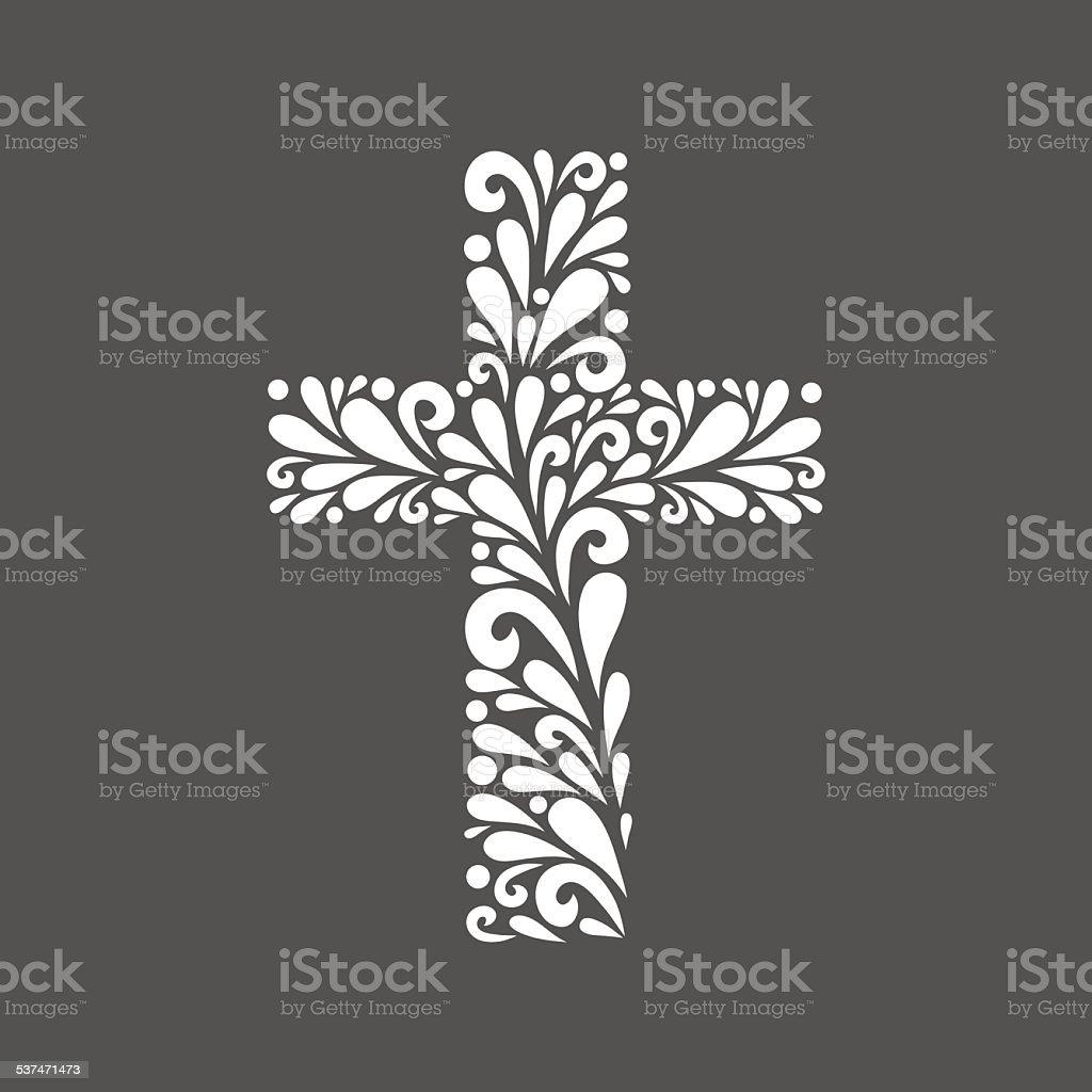 Floral cross. vector art illustration