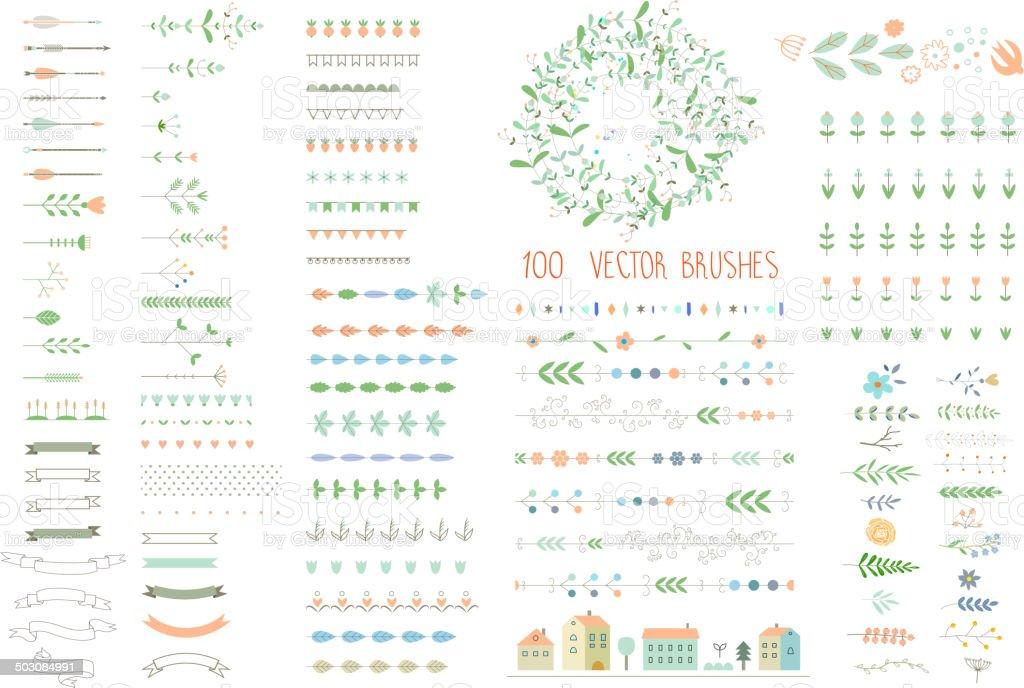 Floral decor set. 100 different vector brushes and decor elements. vector art illustration
