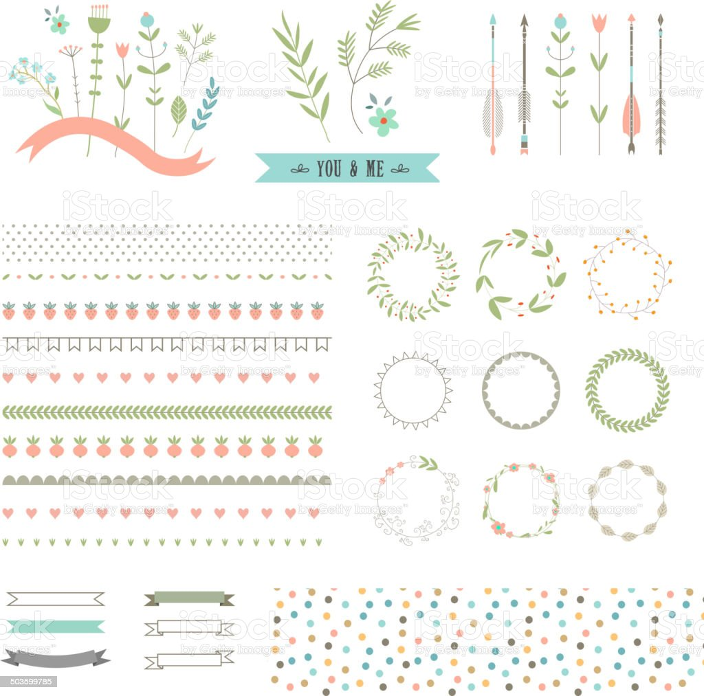 Floral decor set. Different vector brushes and decor elements. Isolated. vector art illustration