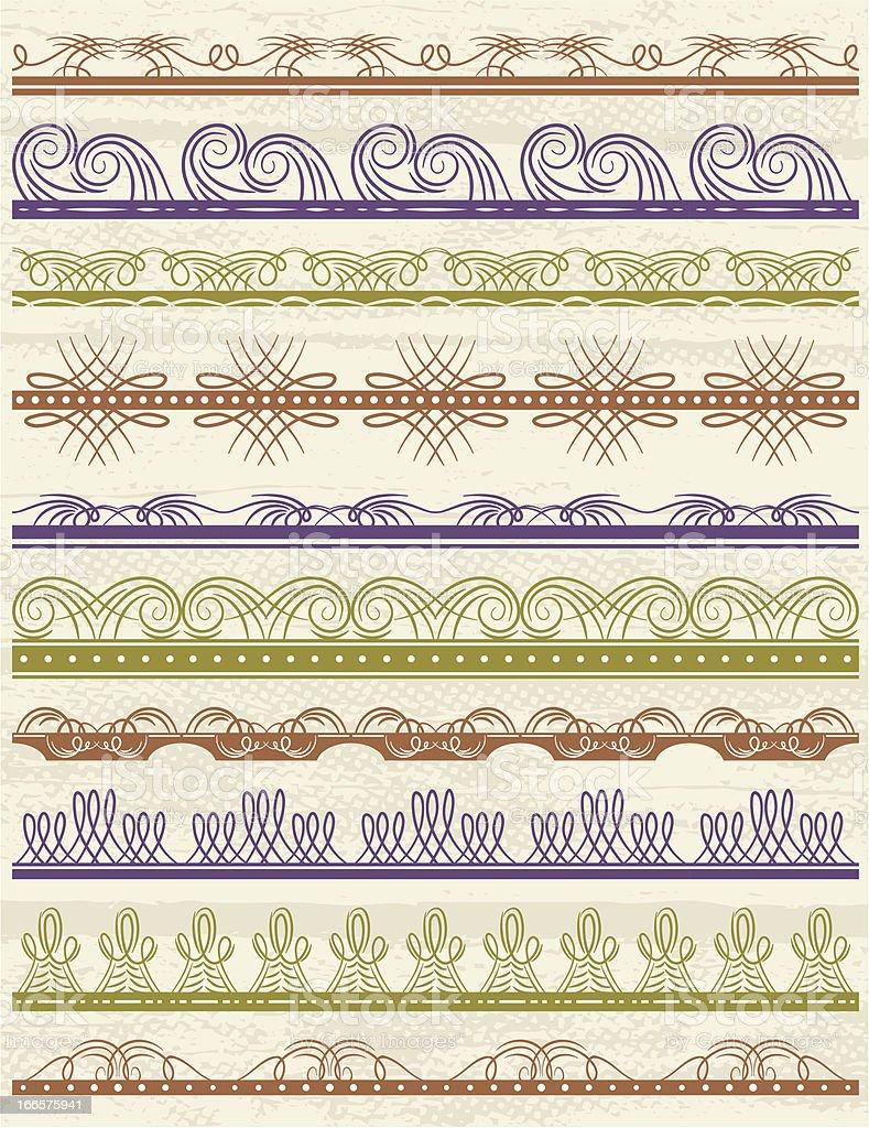 floral decorative borders, ornamental rules royalty-free stock vector art