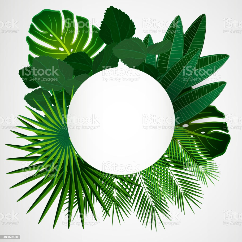 Floral design background made with tropical leaves vector art illustration