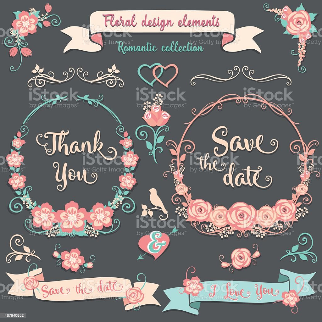 Floral design elements Romantic collection vector art illustration