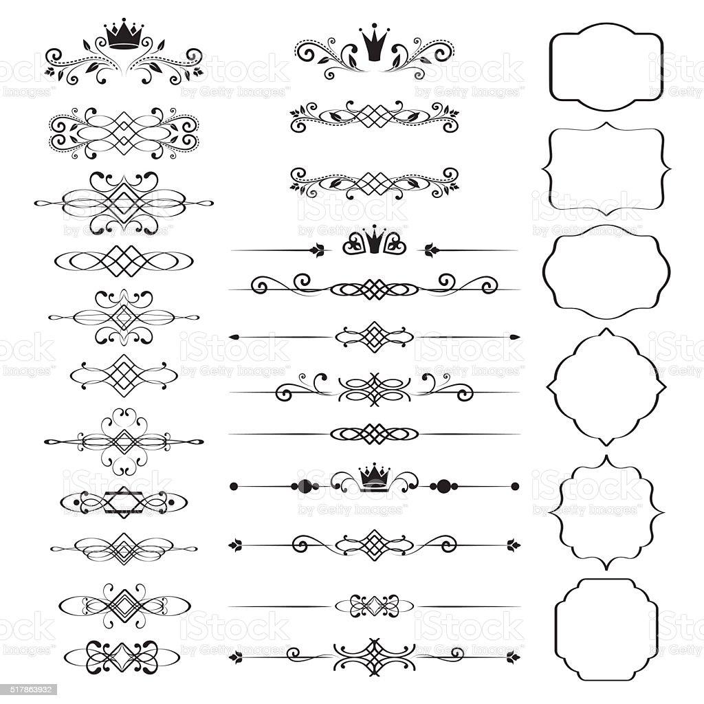 Floral design elements set, ornamental vintage frames with crowns vector art illustration