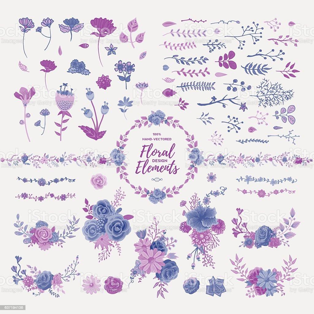 Floral Design Elements vector art illustration