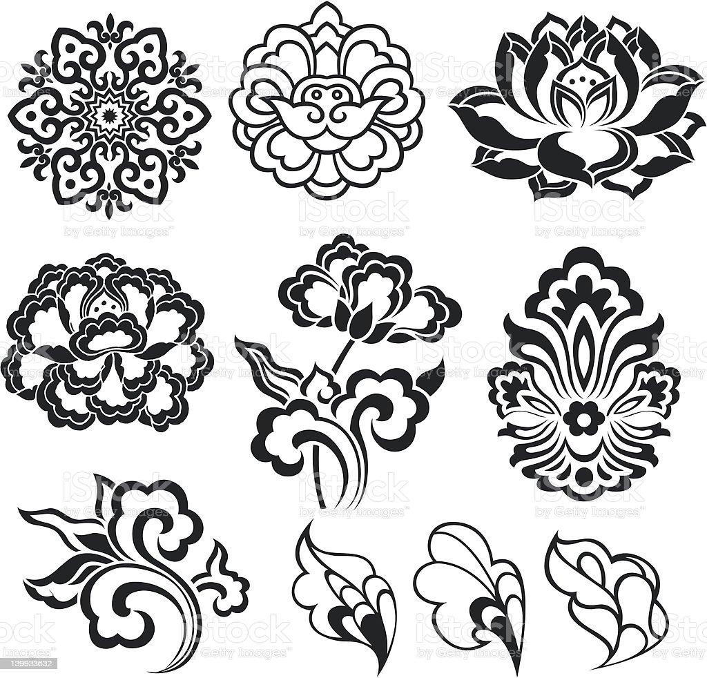 design floreale set illustrazione royalty-free