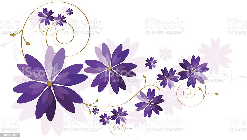 Floral Design with Copy Space - Rich Purple, Lavender royalty-free stock vector art