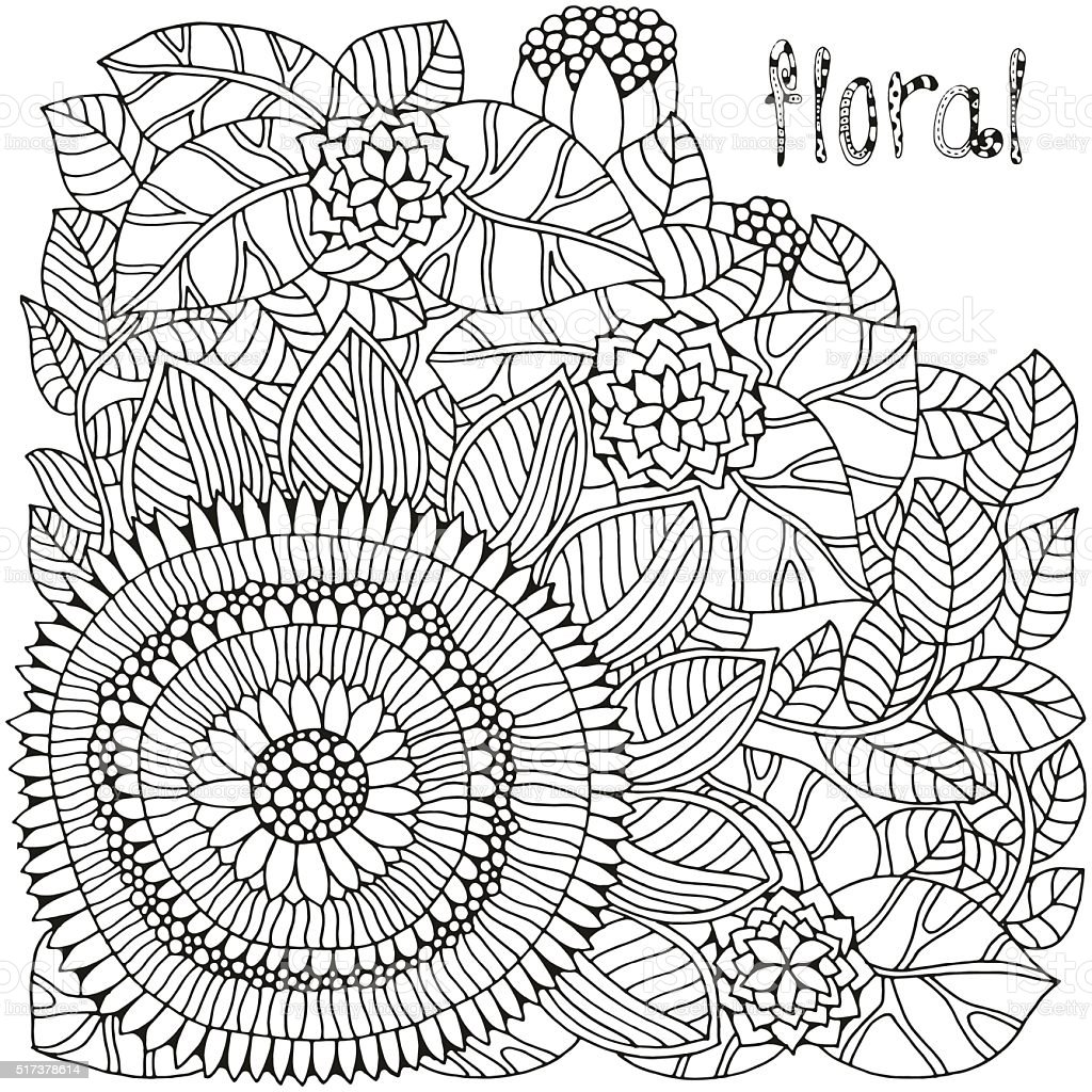 Floral doodle. Pattern for coloring book. vector art illustration