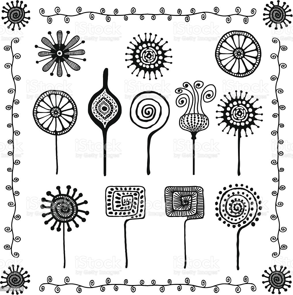 floral doodles ornaments royalty-free stock vector art