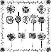 floral doodles ornaments