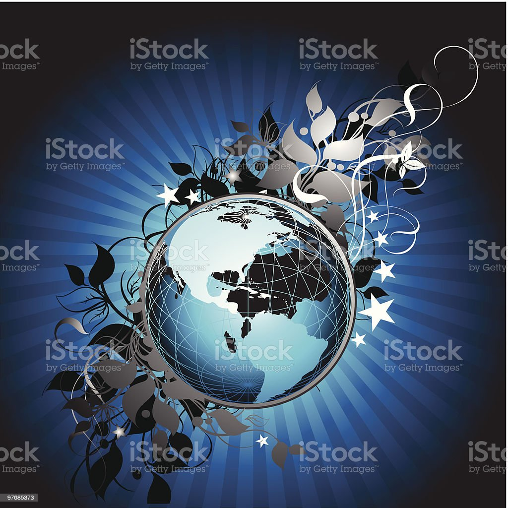 floral Earth background royalty-free stock vector art