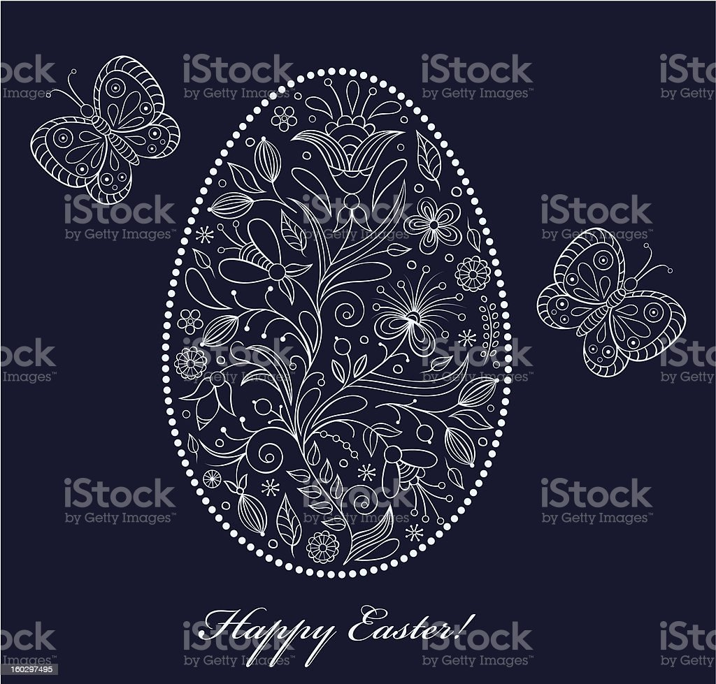 floral easter egg royalty-free stock vector art