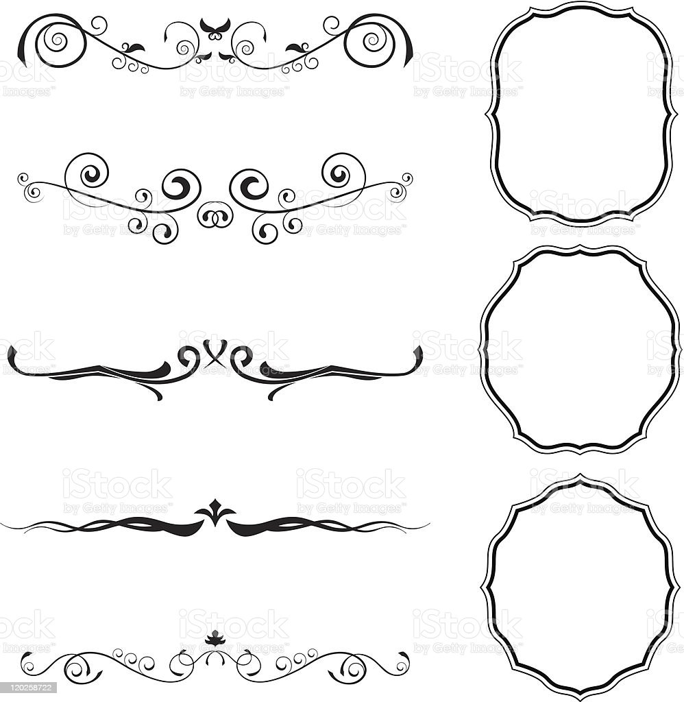 Floral elements and frames in black and white royalty-free stock vector art