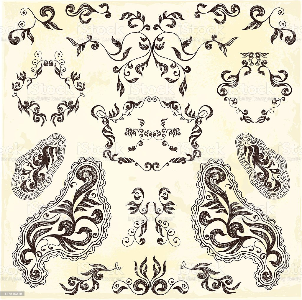 Floral elements and frames royalty-free stock vector art