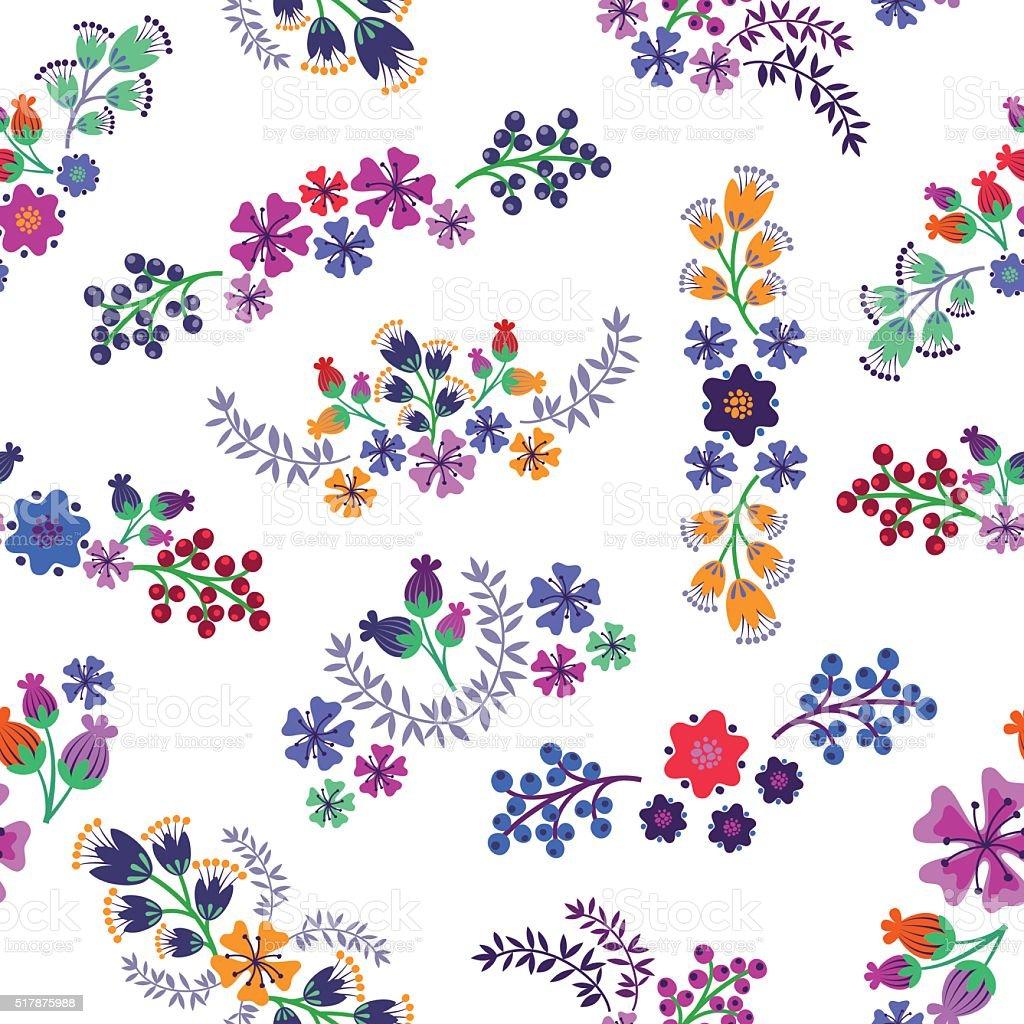 Floral Elements Pattern. vector art illustration