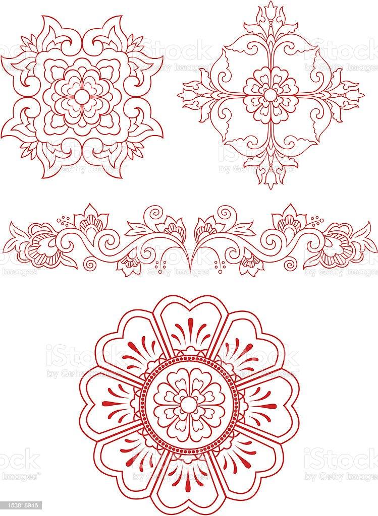 Emblema design floreale illustrazione royalty-free