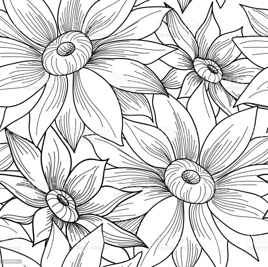 Floral seamless pattern. Flower engraving background. Floral...