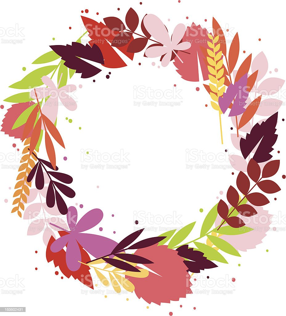 Floral fall wreath royalty-free stock vector art