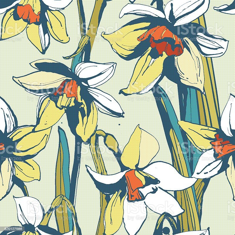 Floral flower narcissus seamless hand drawn pattern. vector art illustration