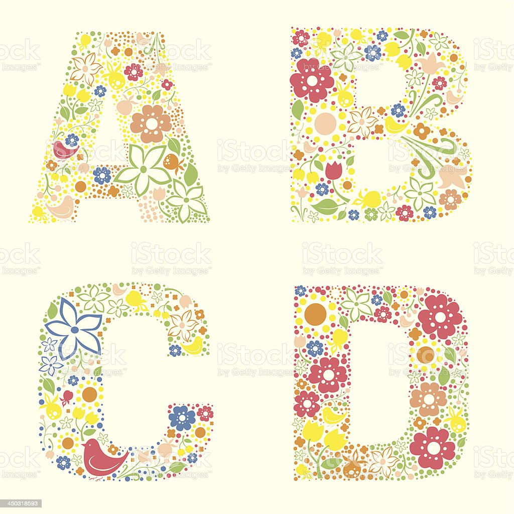 Floral font -letters A B C D royalty-free stock vector art