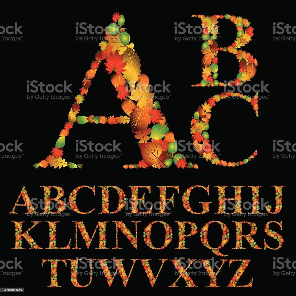 Floral font made with leaves, natural alphabet letters set, vector art illustration