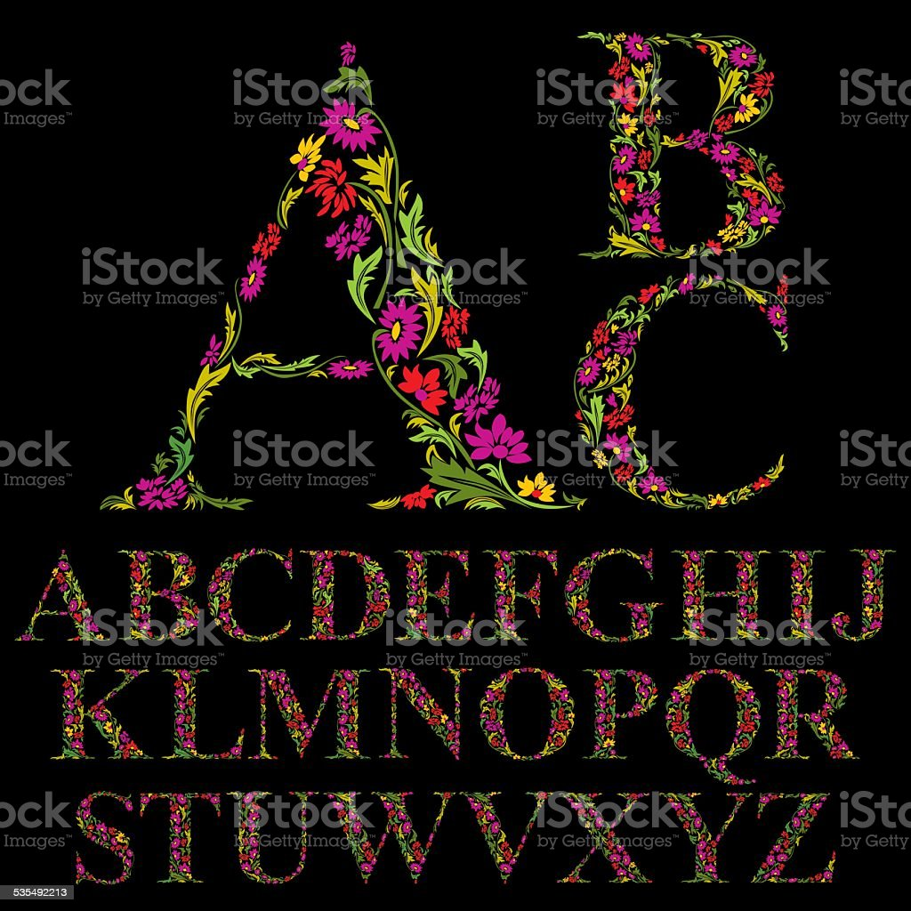 Floral font made with leaves, natural alphabet letters set vector art illustration