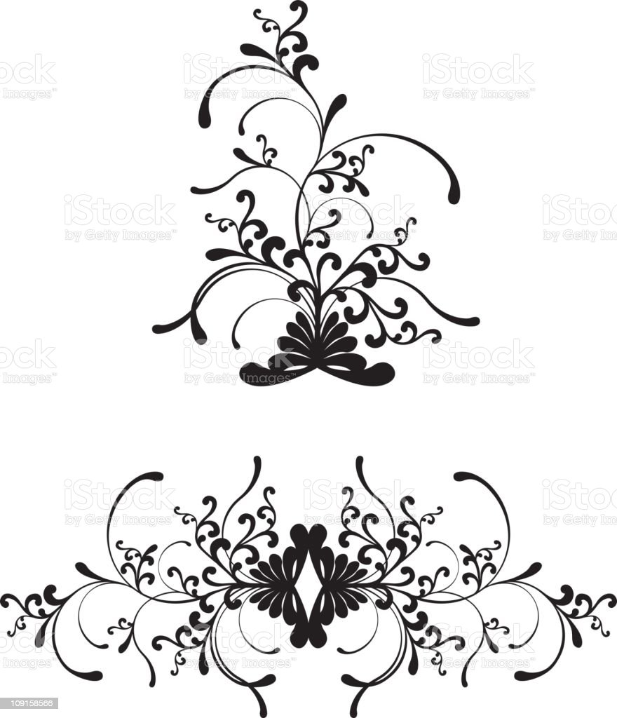 Floral Fountain vector art illustration