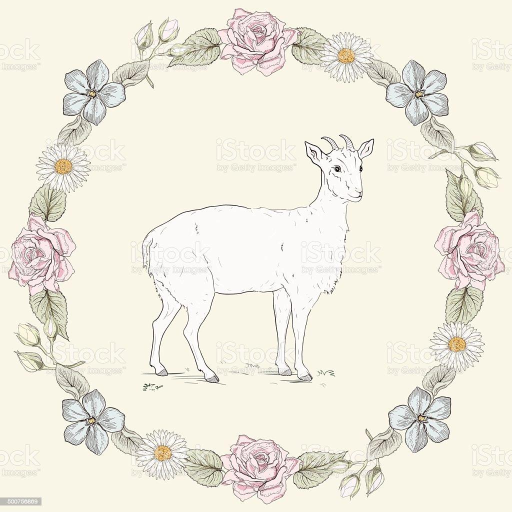 Floral frame and goat Vintage engraving style vector art illustration