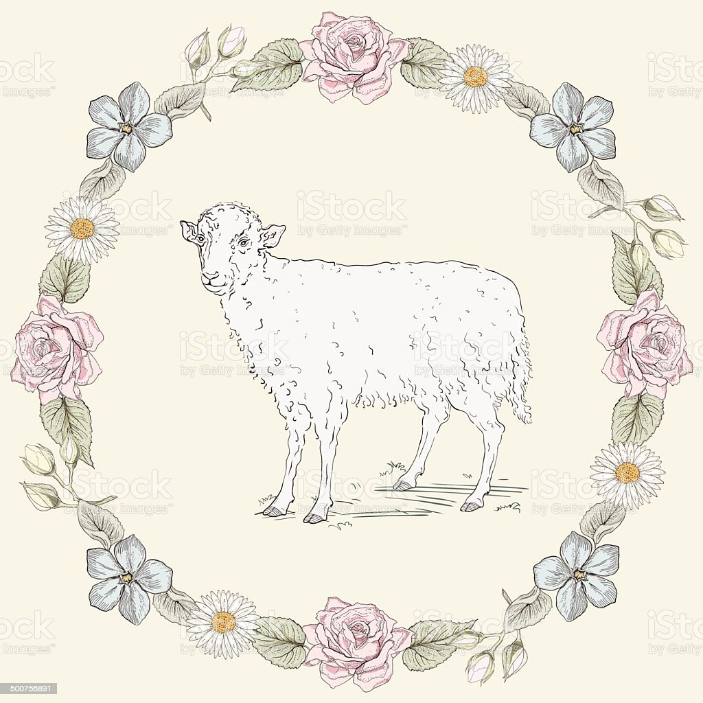 Floral frame and sheep Vintage engraving style vector art illustration