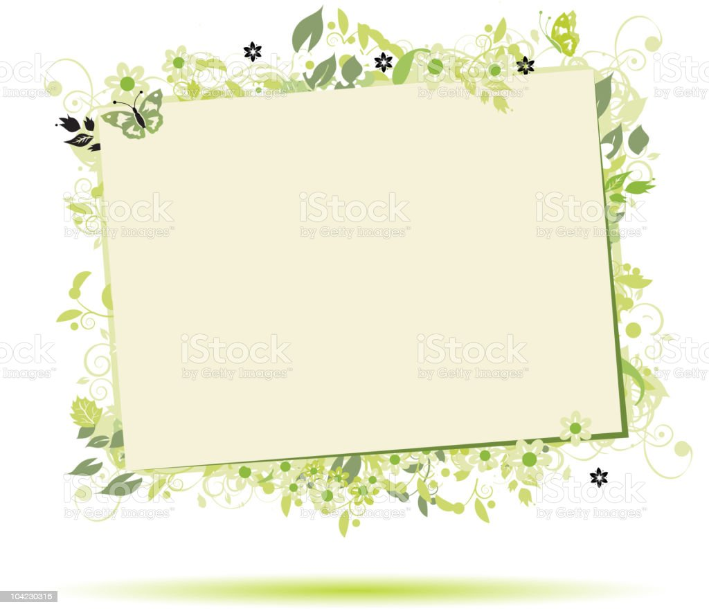 Floral frame beautiful with place for your text royalty-free stock vector art