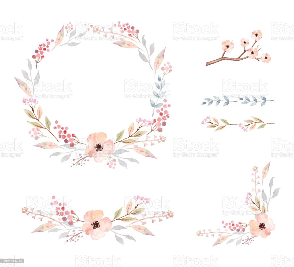 Floral Frame Collection. Set of cute watercolor flowers. vector art illustration