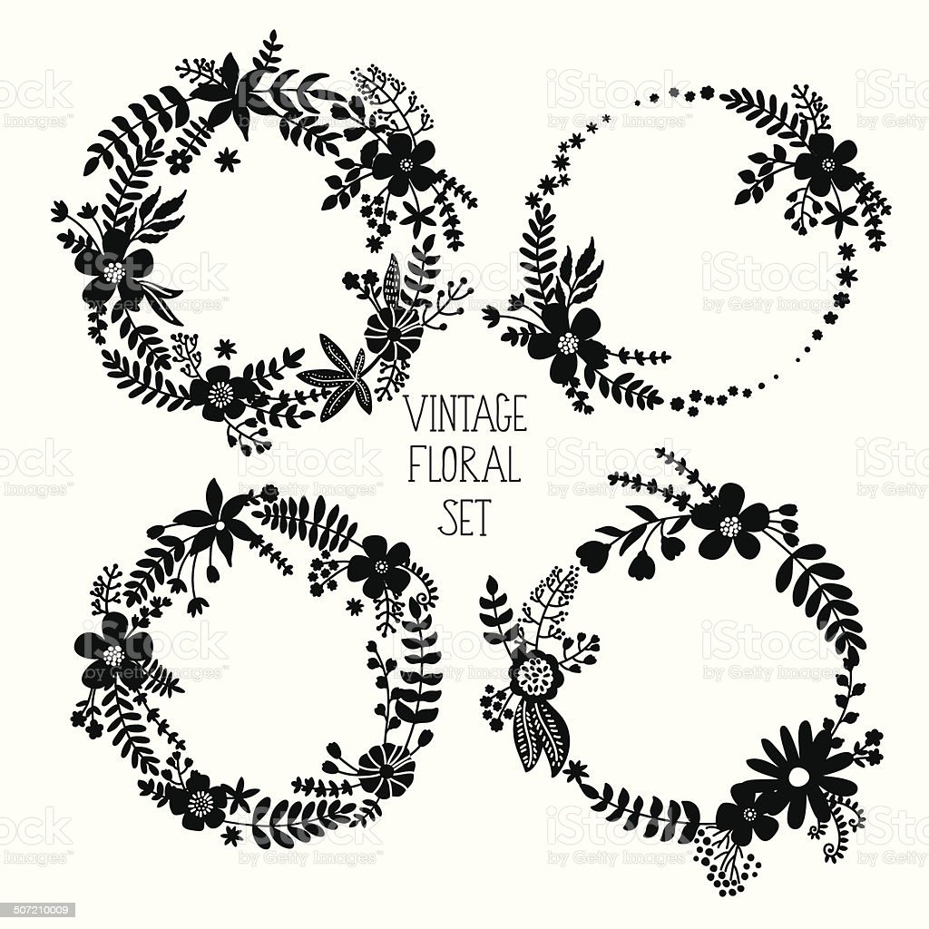 Floral Frame Collection royalty-free stock vector art
