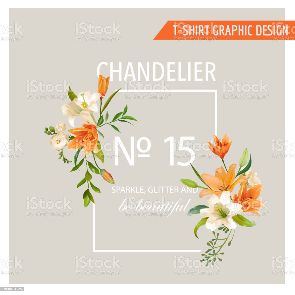 floral frame graphic design summer lily flowers royalty free stock vector art