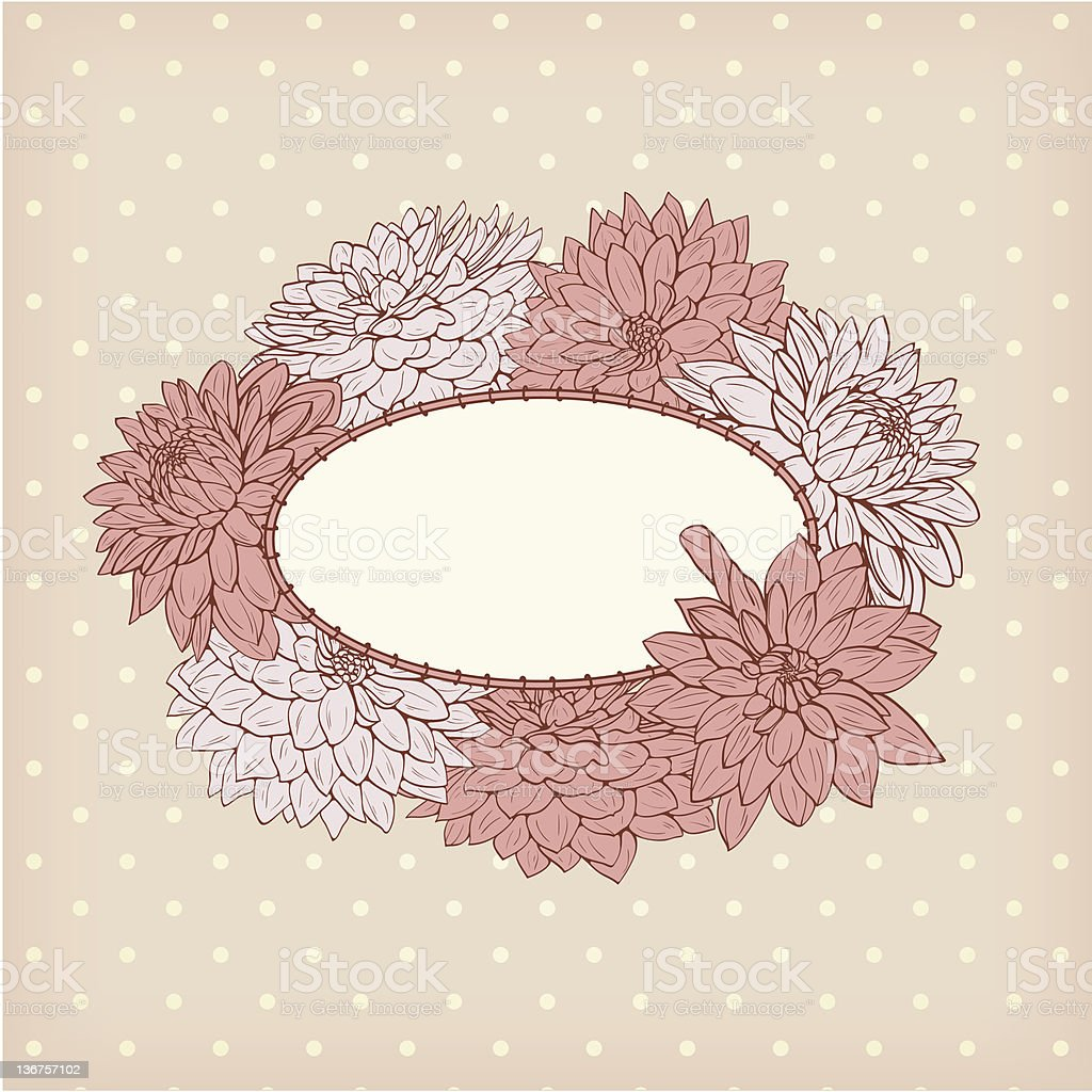 Floral frame in retro style royalty-free stock photo