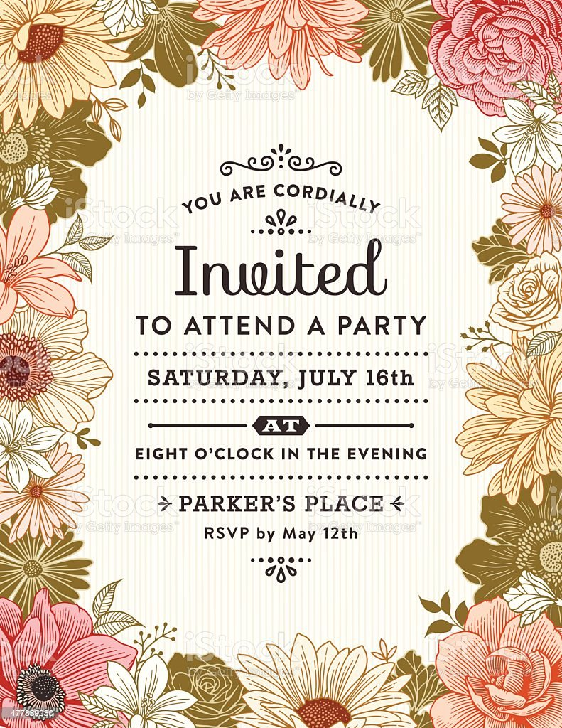 Floral Frame Invitation vector art illustration