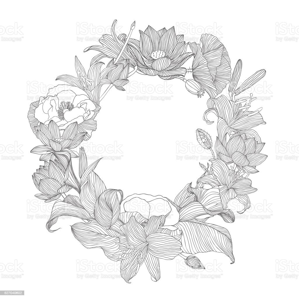 Floral frame of different plants vector art illustration