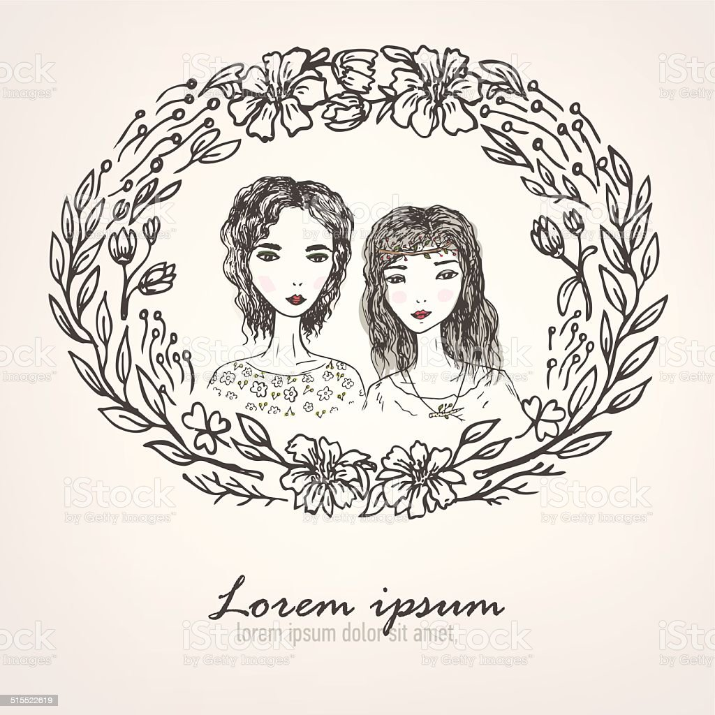 floral frame with pretty girls vector art illustration