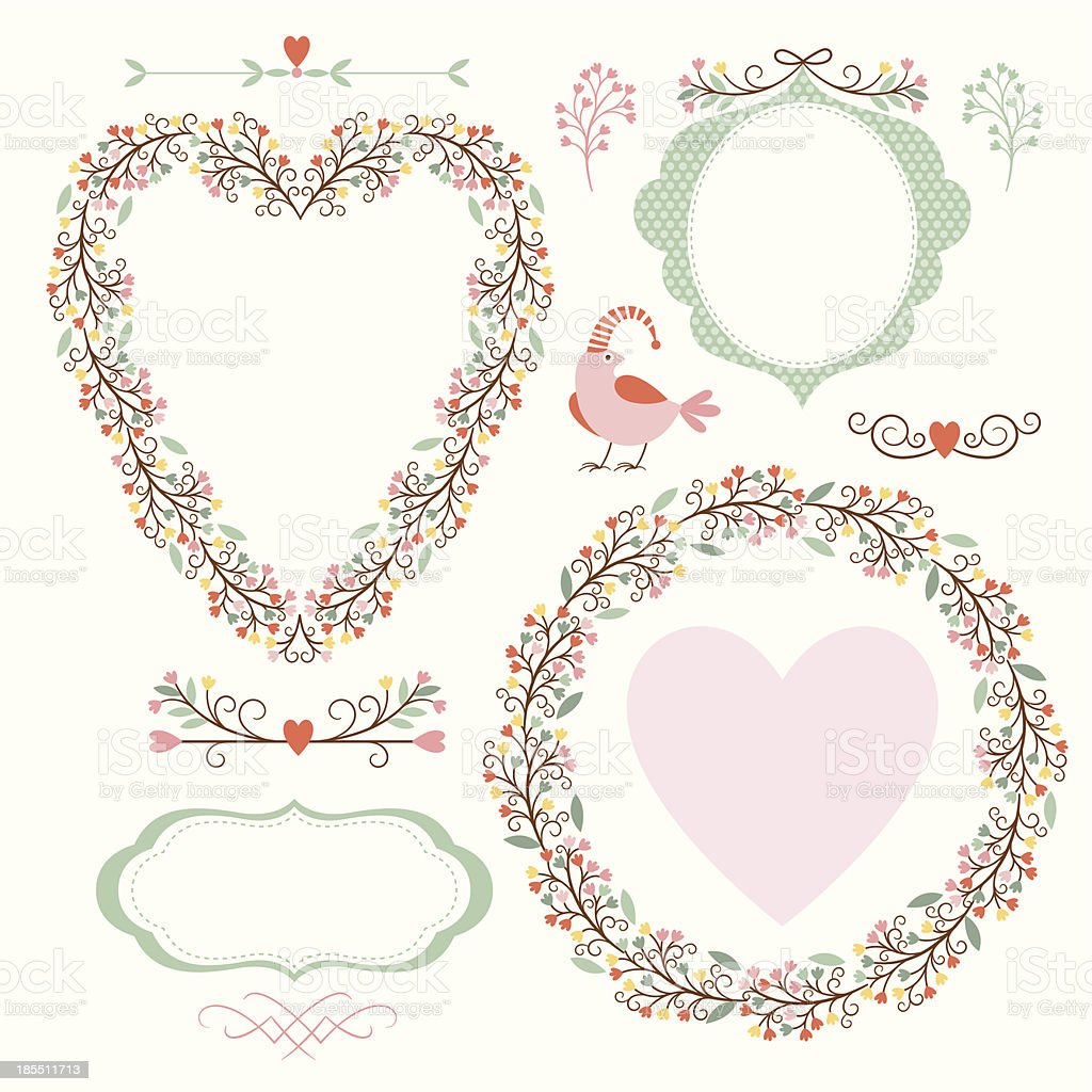 Floral frames and graphic elements royalty-free stock vector art