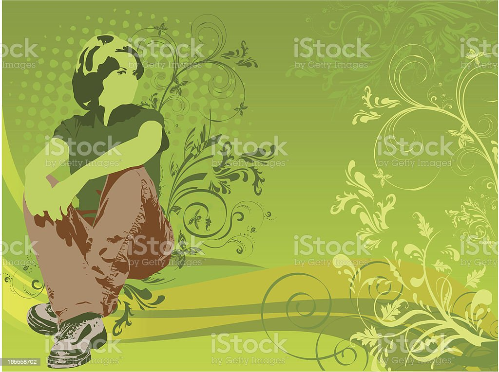 Floral Girl Thinking royalty-free stock vector art