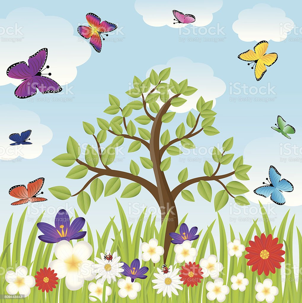 floral glade, tree and bright butterflies vector art illustration
