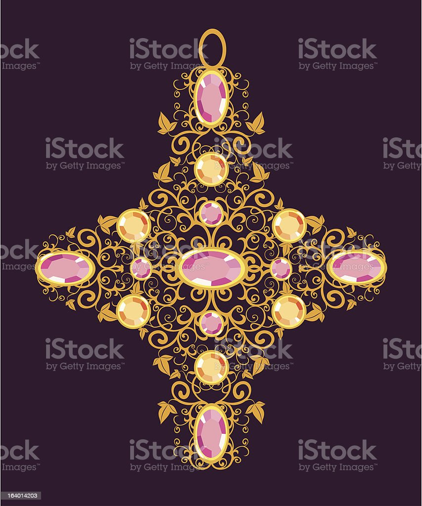 floral gold cross royalty-free stock vector art