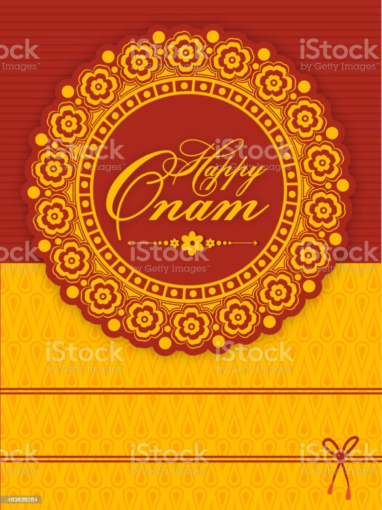 Floral Greeting Card For Happy Onam Celebration Stock Vector Art