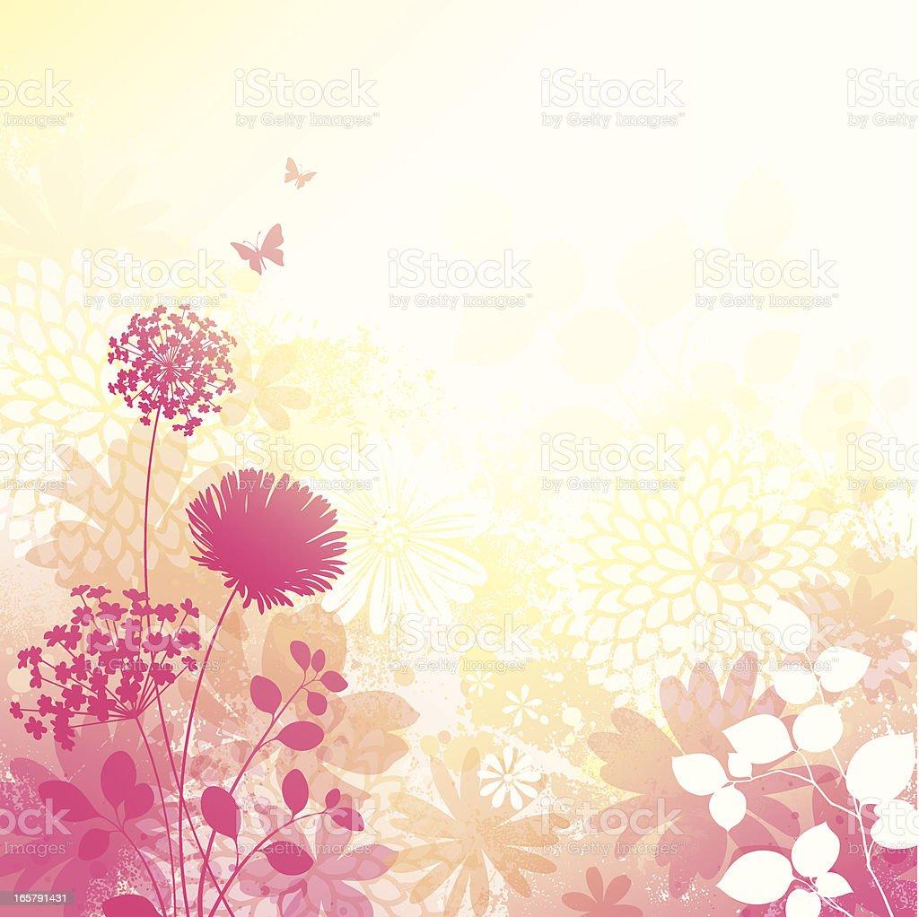 Floral Grunge Background vector art illustration
