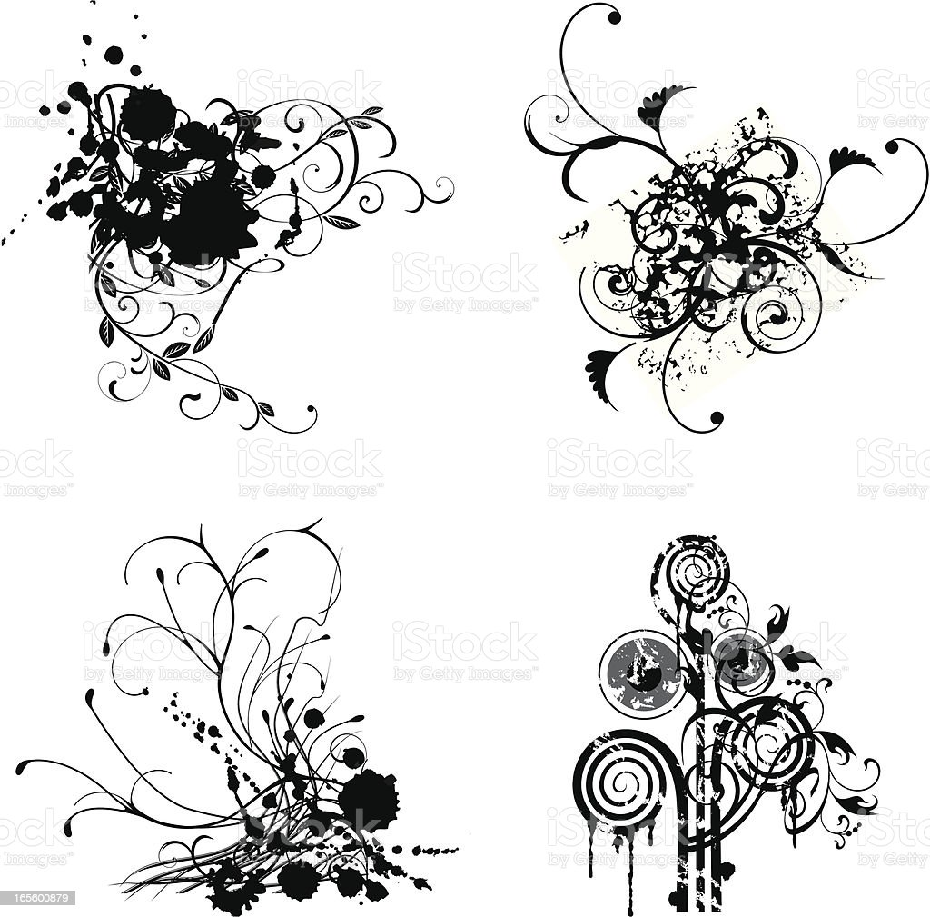 Floral grunge compositions. royalty-free stock vector art