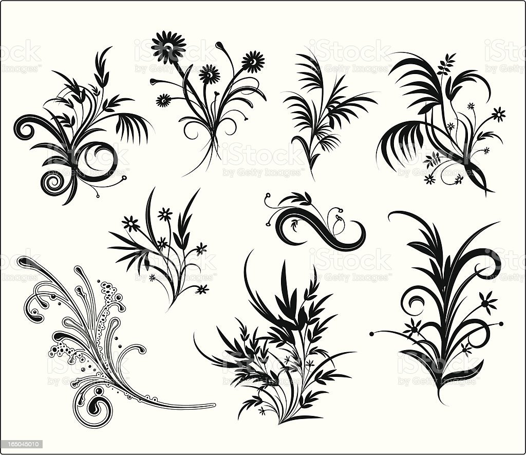 Floral Grunge Ornament Elements royalty-free stock vector art