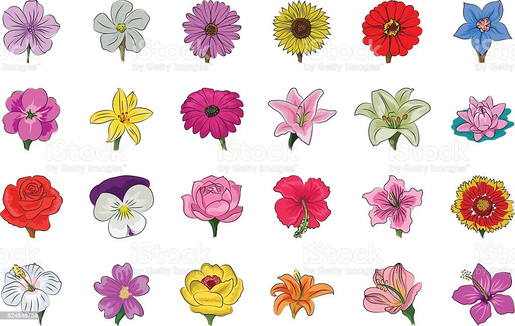 Floral Hand Drawn Colored Vector Icons 1 vector art illustration