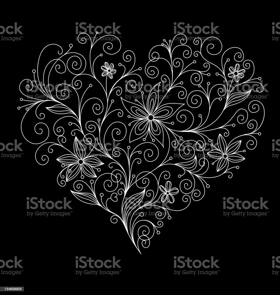 Floral heart background royalty-free stock vector art