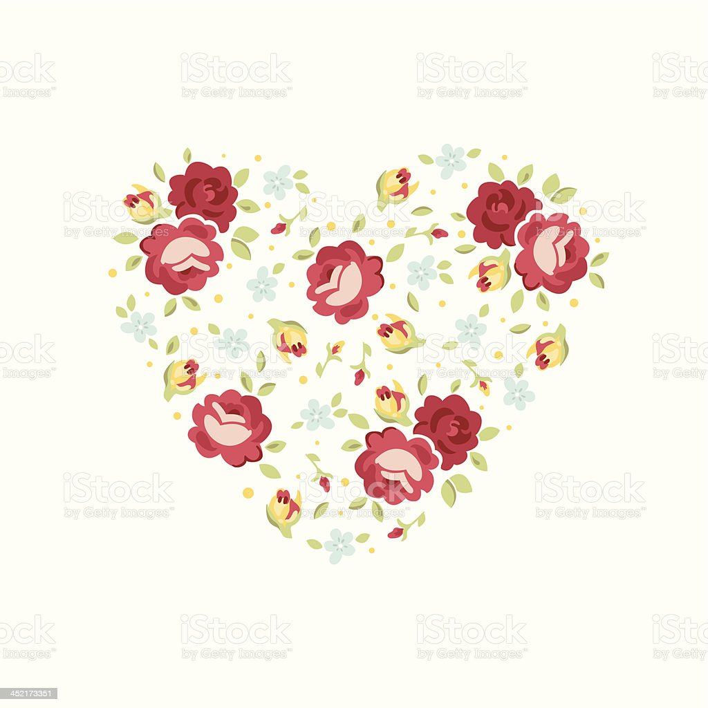 Floral heart greeting card royalty-free stock vector art