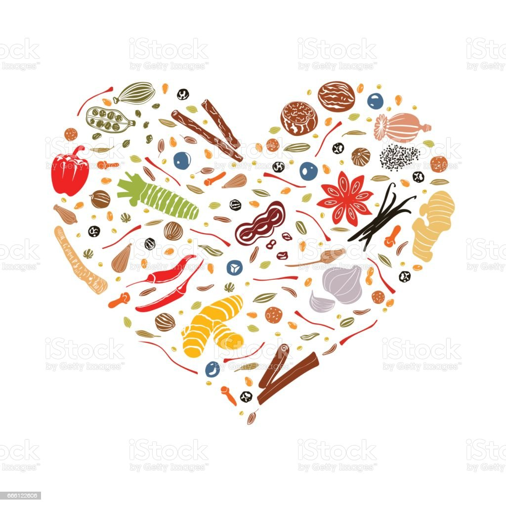 Floral heart made of spices vector art illustration