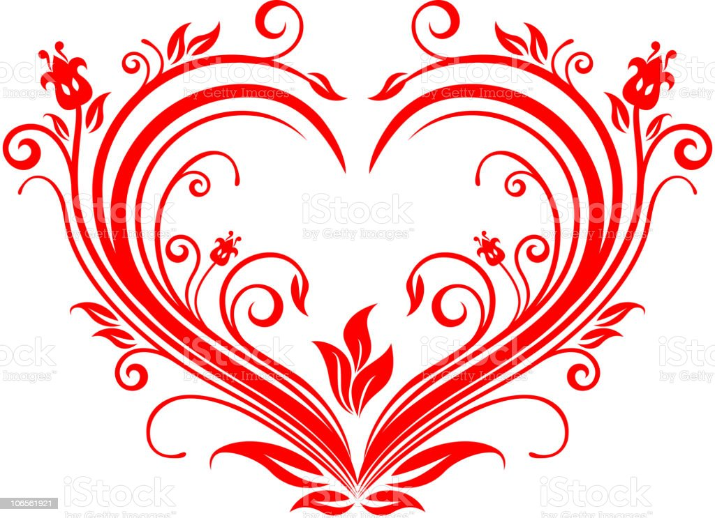 Floral heart royalty-free stock vector art