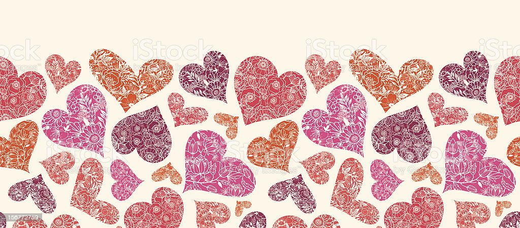 Floral Hearts Horizontal Seamless Pattern Ornament royalty-free stock vector art